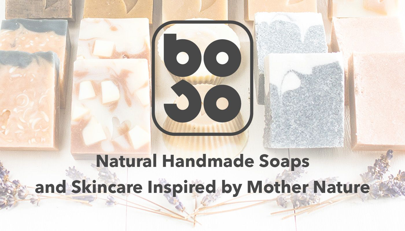 BOSO logo on top of handmade soaps selection
