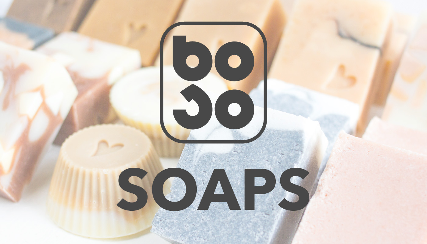 BOSO logo on top of a handmade soaps selection