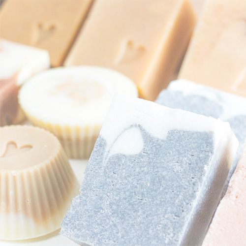 Close up view on handmade soaps